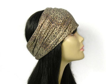 Leopard Headband Leopard Head Wrap Athletic Headgear Head Wrap Animal Print Headband Wide Head Wrap Stay in Place Headwrap Wide Headband