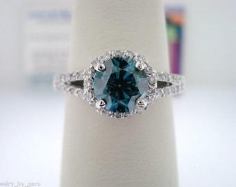 VS2 1.35 Carat Blue Diamond Engagement Ring, Fancy Diamond Wedding Ring 14K White Gold Halo Pave Certified Handmade