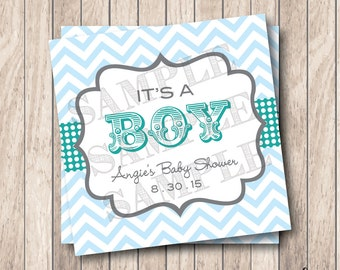 Personalized Printable It's A Boy Tags, Printable Boy Circus Baby Shower Tags, Chevron Baby Shower Tags . Lagoon