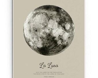 Full Moon Print - PRINTABLE FILE. La Luna Art. Pablo Neruda Quotation. Lunar Moon Poster. Vintage Luna. Dorm Room Wall Art. Bohemian Art.