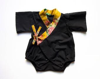 Handmade kimono romper, baby kimono, baby jinbei, new baby gift, newborn gift, japanese outfit, gender neutral kimono, baby shower