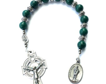 Gift for Firefighter, Green Rosary, St Florian Irish Rosary, Catholic Gift, Fathers Day Gift from Daughter, Celtic Crucifix, St Michael Bead