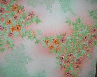 "SILK KIMONO FABRIC Vintage Japanese Silk Kimono Fabric frm Unused Bolt Watercolor Flowers Leaves Pink Green Leaf Silk Kimono Fabric 14""W"