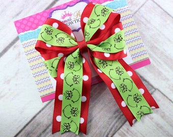 Baby Bows, Toddler Bows, Girls Hair Bows, Grinch Hair Bow, Christmas Hair Bow, Holiday Hair Bow, Green Red Hair Bow, Hair Clip, 5 Inch Bow