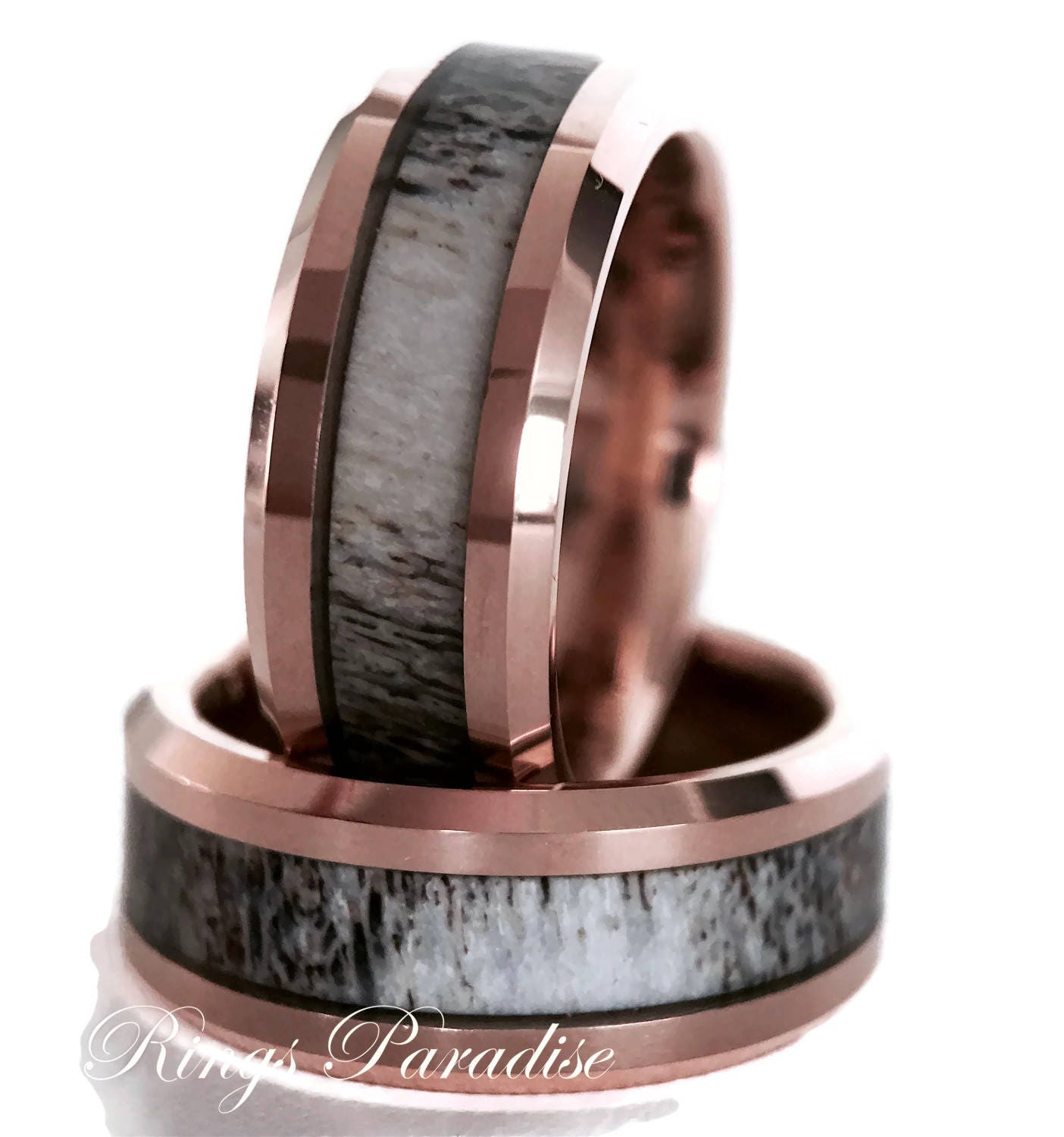 elk antler wedding divided rose by s rings band and inlays ivory gold bands mens products tooth men