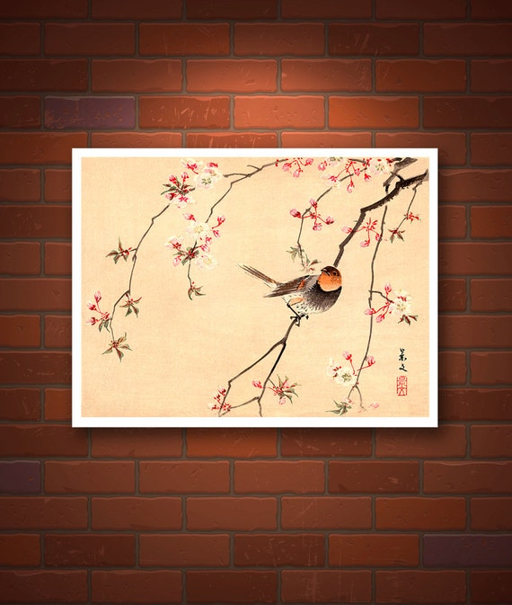 Bird and Flower japanese art Red Avadavat and Cherry FINE ART