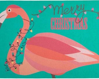 Flamingo Christmas Floor Mat, Coastal Christmas Floor Mat, Tropical Christmas Floor Mat