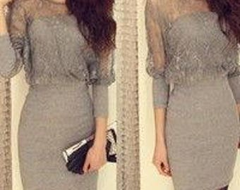 Gray Cotton and Lace Womens dress