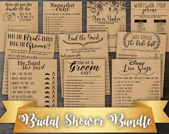 10 Bridal Shower Games Bundle . Games Bundle . Bridal Shower Bundle . Rustic Bridal Shower Games Package . Fun Bridal Shower Activities .