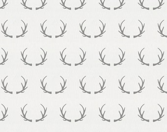 Silver Gray Antlers Organic Fabric - By The Yard - Gender Neutral / Girl / Boy