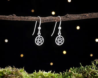 Sterling Silver Teeny Tiny Pentacle Earrings