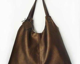 sac Simple Bag en cuir bronze cuivré métallisé