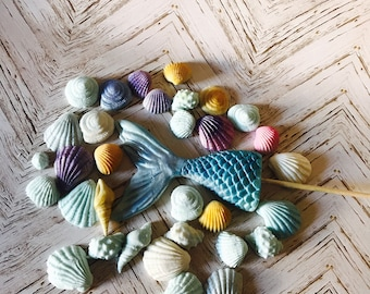 50 Seashells Beach Theamed Kids Party Cake Cupcake Topper