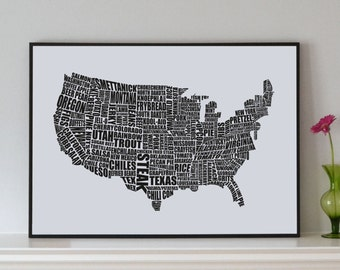 American Gastronomy Map Print - Christmas gift