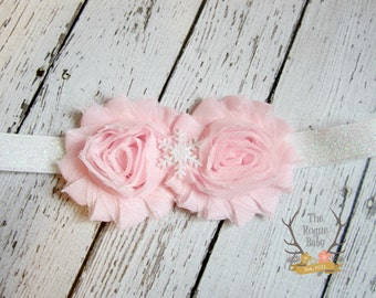 Pink White Glitter Snowflake Headband Iridescent -  Winter Princess - Newborn Infant Baby Toddler Girls Adult