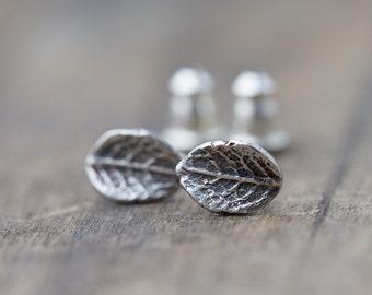 Tiny Leaf Stud Earrings, Gift for Her, Sterling Silver Leaf Earrings, Outdoors Gift, Post Earrings, Wife Gift, Earrings Handmade Burnish