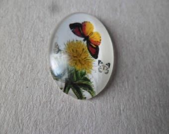 x 1 vintage glass dome cameo/cabochon oval Butterfly/flower motif to glue 25 x 18 mm