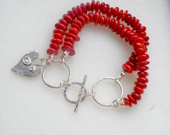 Red Coral Sterling Silver Two Strand Bracelet with Silver Heart Charm