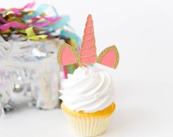 Unicorn Horn Cupcake Toppers - Unicorn Birthday Party Decor, Unicorn Party, Magical Party, Unicorn Horn, Let's Be Unicorns