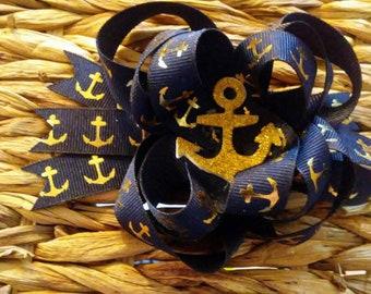 Anchor Nautical Hair Bow