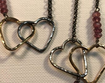 Silver and gold fill hammered heart necklace and bracelet with garnet