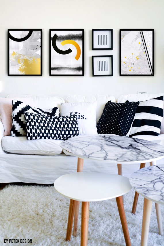 Set of 3 prints abstract art gold foil posters living