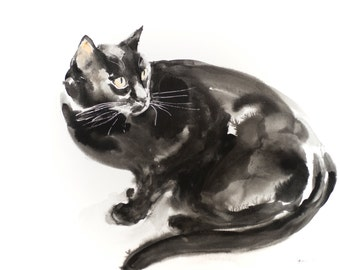 Looking back - original watercolor painting (100 dollar cat)