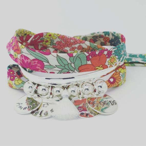 ★ Bracelet GriGri XL Liberty with 4 custom ENGRAVINGS and tassel by Palilo ★
