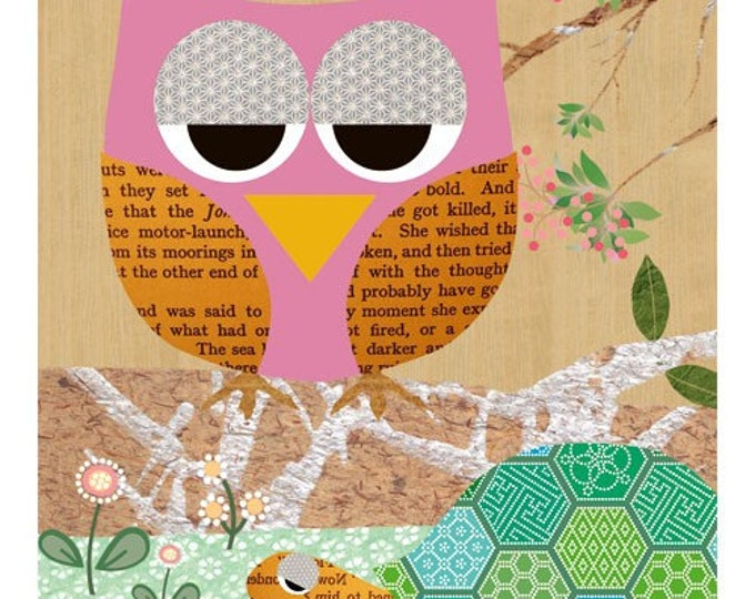 Cute Nursery Print with pink Owl and Turtle