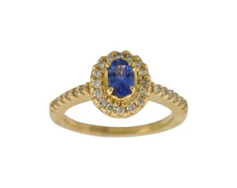 NATURAL Tanzanite Diamond Ring in 14K Yellow Gold !!!Free Shipping in USA Only