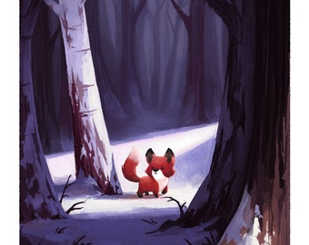Fox in Snowy Woods Giclée Art Print