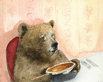 Bear Art, bear painting, bear print, whimsical animal art- Pumpkin Pie