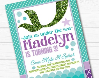 "Diy Personalized Under The Sea ""Mystical Mermaid"" Princess Birthday Party Digital Printable 4""x6"" or 5""x7"" Invitation"