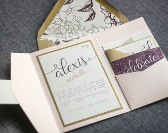 """Blush and Gold Wedding Invitations, Bat Mitzvah Invitation, Blush and Burgundy Baby Shower Invite Suite - """"Playful Calligraphy"""" PF-1L SAMPLE"""