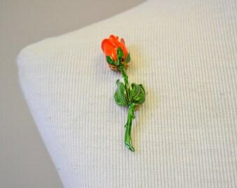 1960s Red Rose Brooch