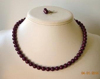 Simple brin Blackberry Swarovski Perle perlée Brides grand collier et boucles d'oreilles ou des cadeaux de demoiselle d'honneur