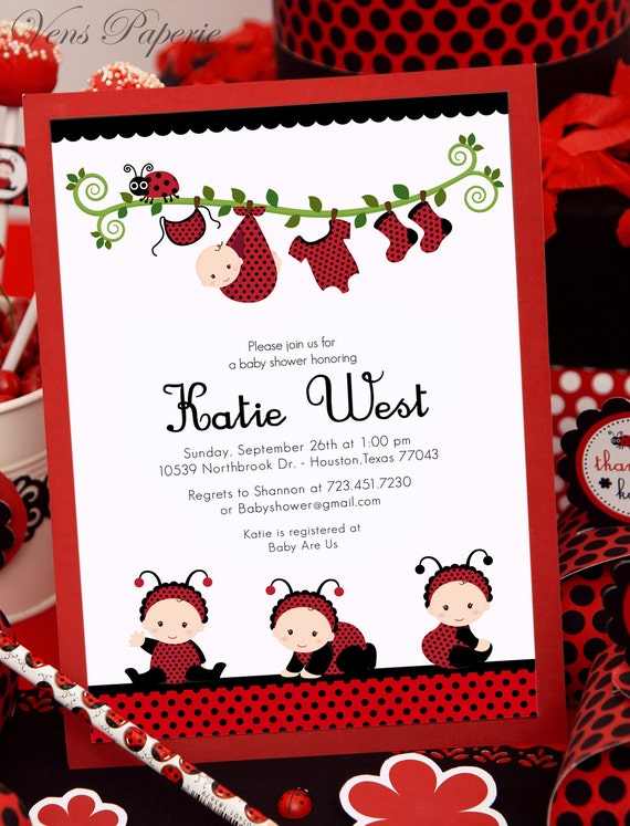 Marvelous DIY PRINTABLE Invitation Card   Red Lady Bug Baby Shower Invitation    BS815CB1a2