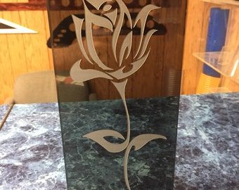 Beautifully Laser Etched Rose Plaque