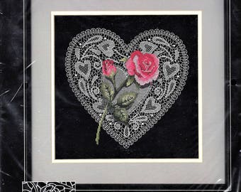 Dimensions No Count Cross Stitch Kit -- Roses and Old Lace (Rose and Heart) - FACTORY-SEALED