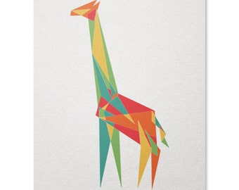 Geometric Giraffe Art Print / Animal Print / Cool Geometric Print / Animal Wall Art / Safari Print / Home Decor / 8 x 10