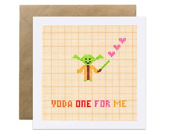 Yoda One For Me - Star Wars Card - Valentines, Engagement, Wedding, Romance, Love Geeky Card