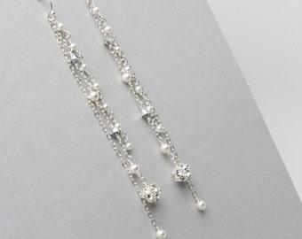 """Very Long Earrings, 4"""" Long Pearl and Crystal Bridal Earrings, Wedding Jewelry, Bridal Dangle Earrings, Shoulder Duster Earrings"""