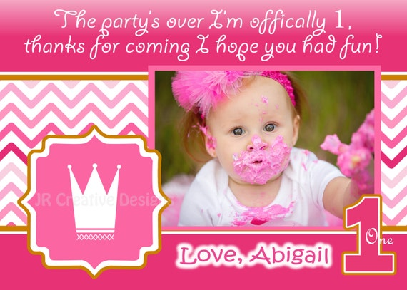 Princess thank you card pink 1st birthday party hot pink princess thank you card pink 1st birthday party hot pink crown thanks girl 1st birthday thank you pink thank you chevron 1st party photo bookmarktalkfo Gallery