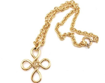 Chanel Vintage Gold Plated Twisted Cross Long Necklace