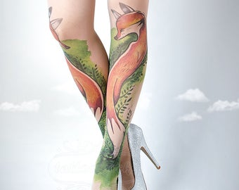 Tattoo Tights, Fox Tights nude Closed Toe one size full length printed tights, pantyhose, nylons, tattoo socks