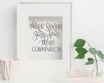 Clarksville, TN Hand Lettered Zip Code