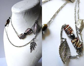 Layered Chain Leaf Necklace