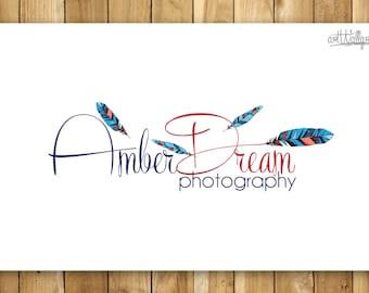 Logo Design, Premade Photography Logo, Feather Logo, Watermark Design