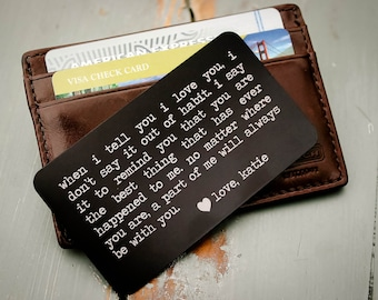 Personalized Wallet Card, Metal Wallet Insert, Engraved Wallet Card, Custom Wallet Insert: Valentine's Day, Father of the Bride, Groom Gift