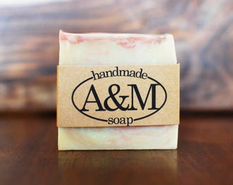 Grapefruit All Natural Homemade Soap - Vegan, Palm Oil Free Soap - Bar Soap with Essential Oils and Rose Clay - Cold Process Soap